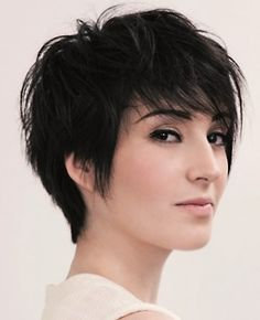Short layered black hairstyle