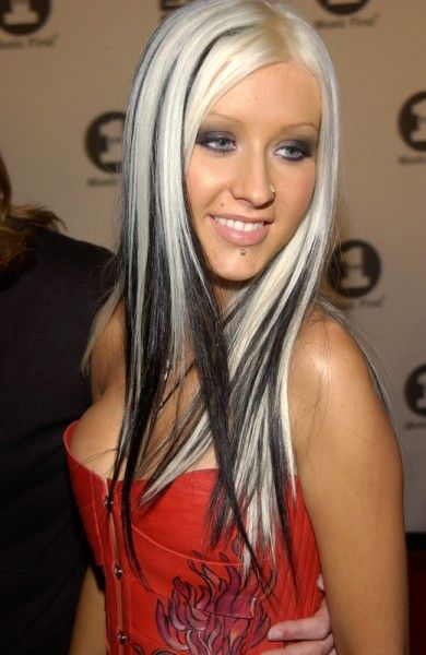 Black Highlighted Hair - Christina Aguilera Hairstyles