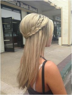 Long straight hairstyle with a braided crown