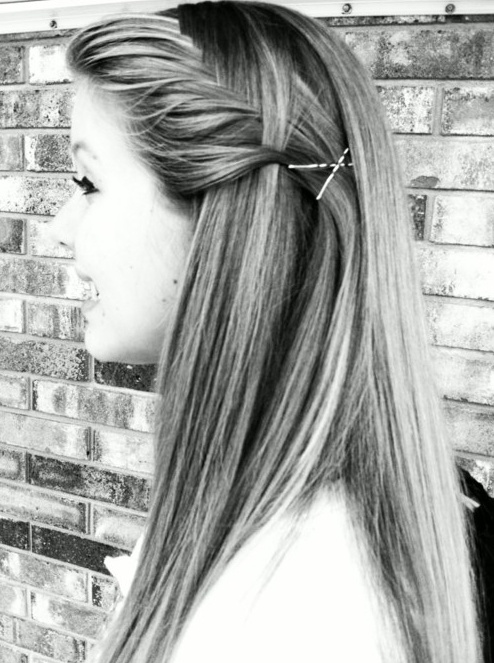 Pinned long straight hairstyle