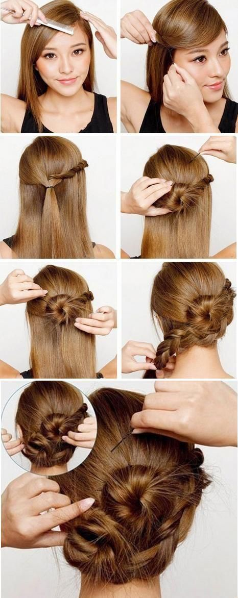 French braid updo hairstyle with angled bangs