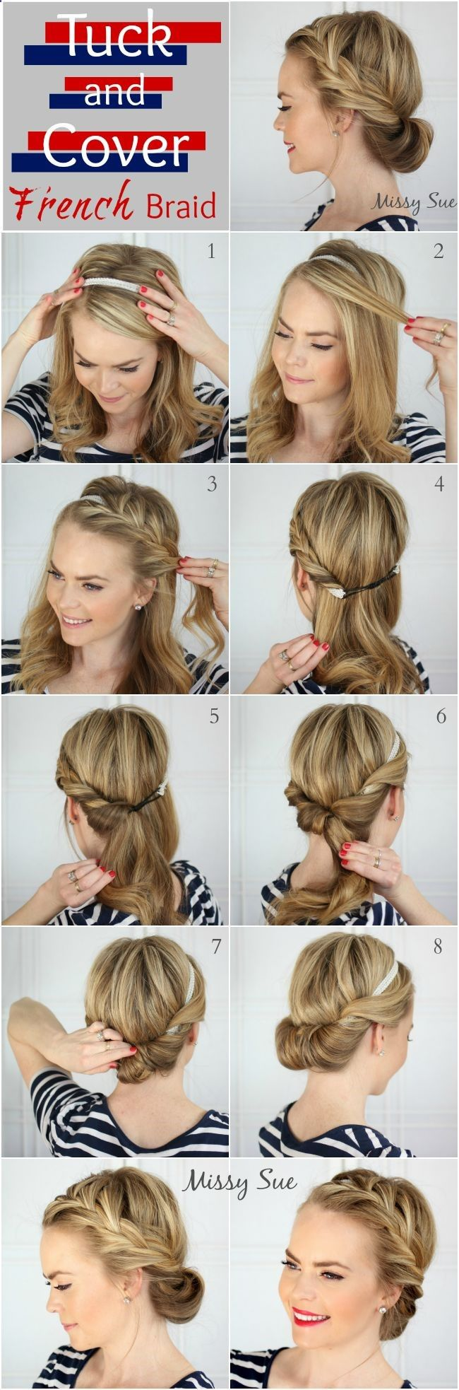 Tuck and Cover French Braid updo