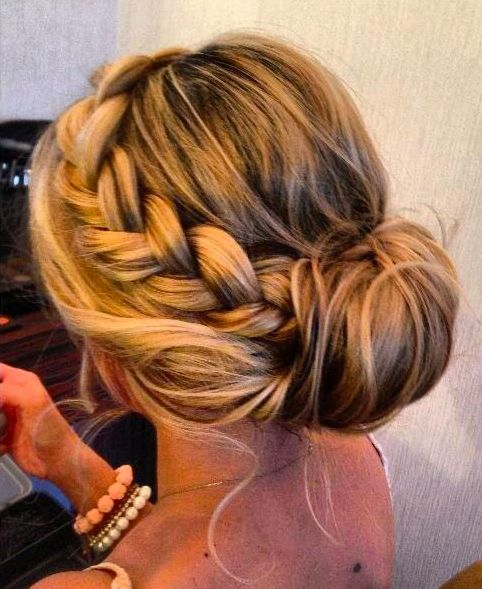Braided bun hairstyle for women with thick hair