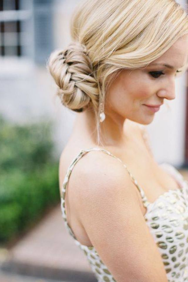 Nice side bun with fishtail braids