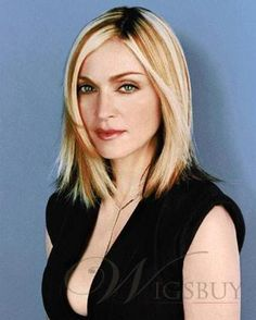Medium straight hair for Madonna hairstyles