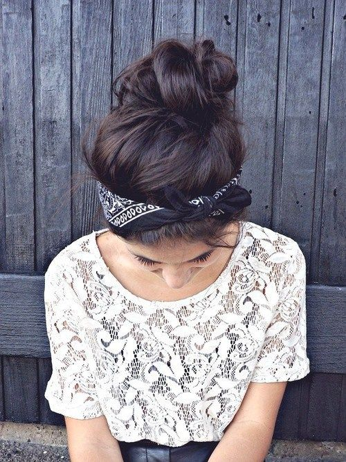 Loose updo with a headscarf
