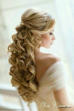 Half up long curly wedding hairstyle