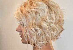 Short blonde curly bob hairstyle