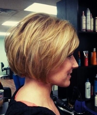 Stacked blonde bob haircut