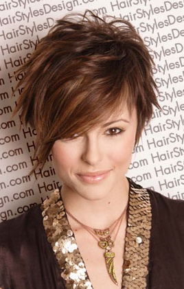 Funky brown hairstyle