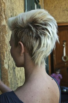 Blonde funky hairstyle