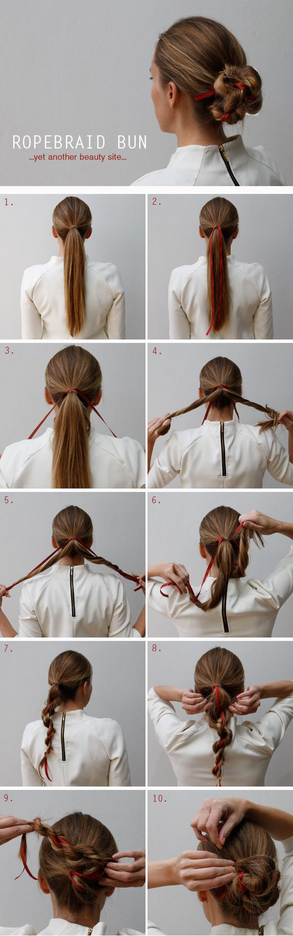Braided updo with a ribbon
