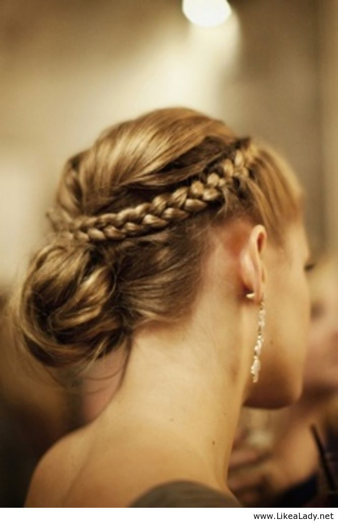 Braided crown and lower updo hairstyle