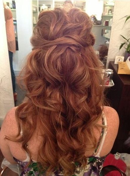 Twisted long curly hairstyle