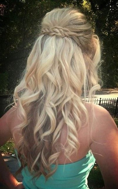 Braided blonde curly hairstyle