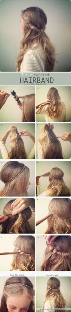 Simple hair band hairstyle