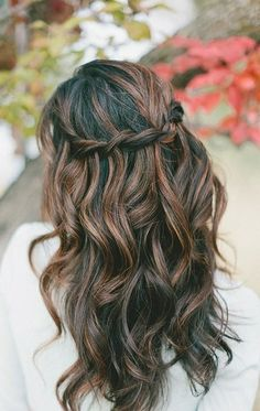 Braided brunette highlighted hairstyle