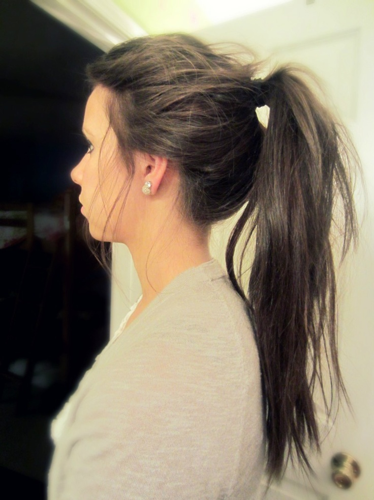 Messy high ponytail