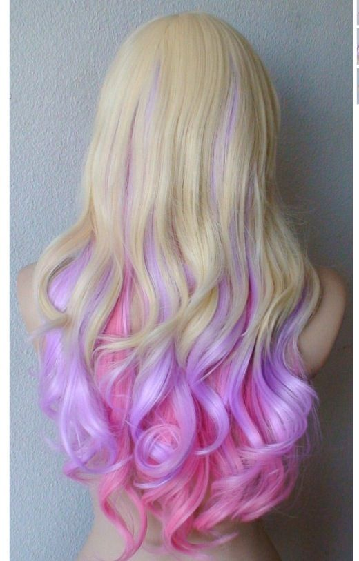 Orange and purple hairstyle