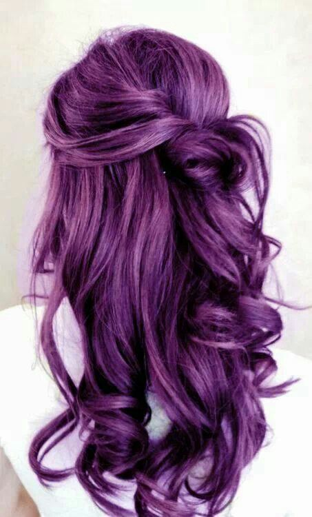 Twisted purple hairstyle
