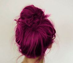 Messy top knot for pink hairstyles