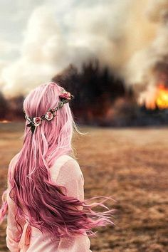 Long wavy pink hairstyle