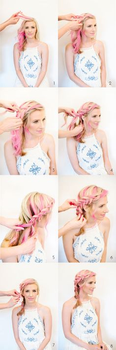 French braid tutorial for pink hairstyles