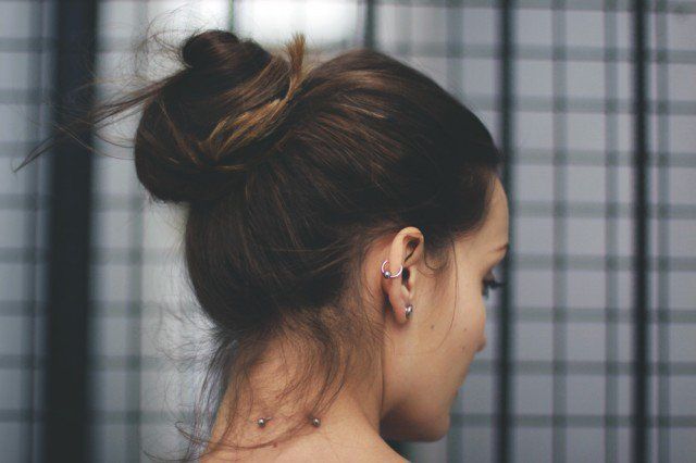 Simple high bun hairstyle