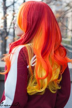 Long wavy yellow and orange hairstyle