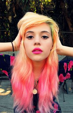 Pink and yellow hairstyle