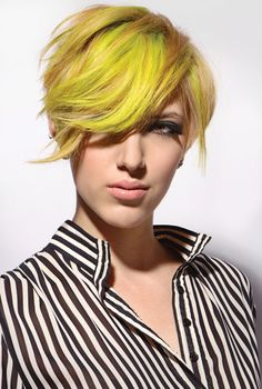 Short yellow hairstyle