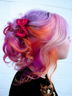 Purple and orange hairstyle