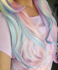 Pastel colored rainbow hairstyle