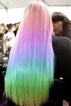 Long straight rainbow hairstyle