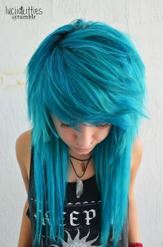 Blue punk hairstyle