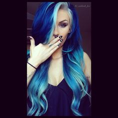 Long wavy blue hairstyle