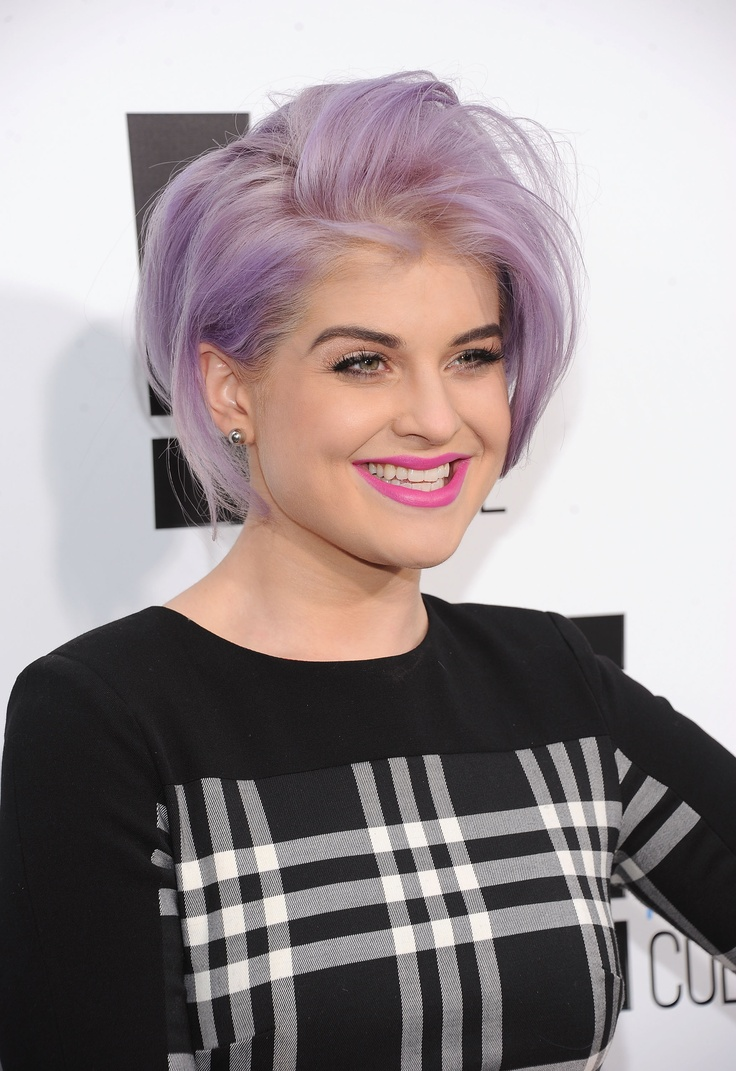 Purple bob haircut for Kelly Osbourne hairstyles