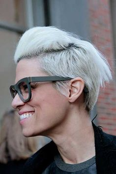 Short white faux hawk hairstyle