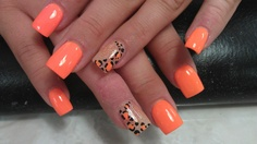 Orange nail design for clear nails