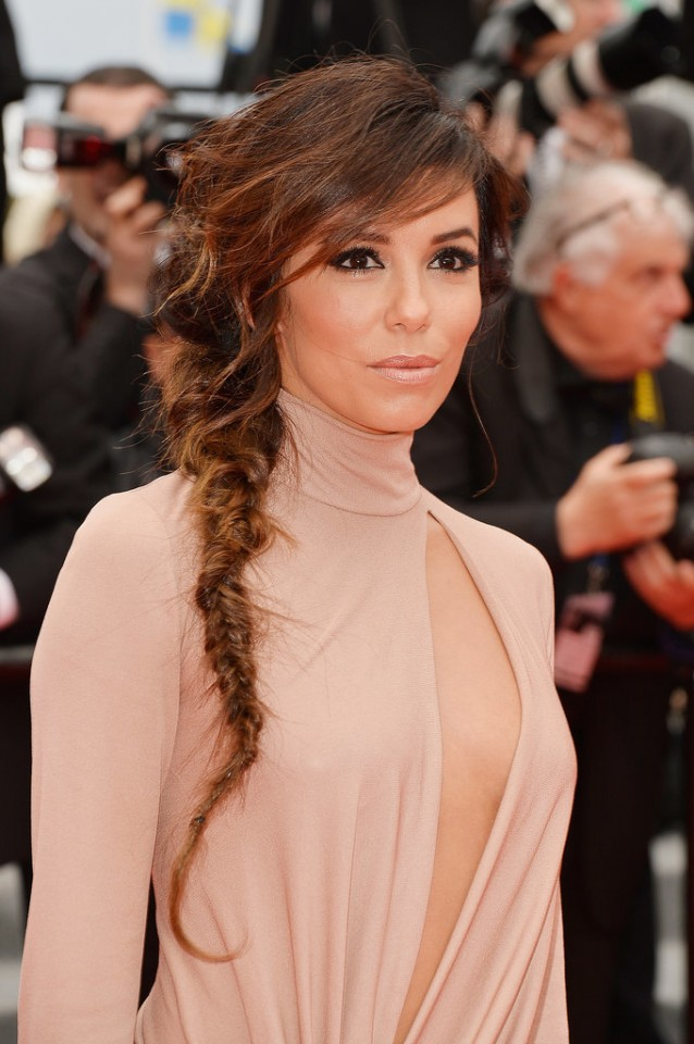 Fishtail braid with swept bangs