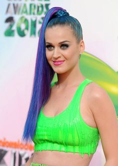 Colored Braided Ponytail - Katy Perry Hairstyles