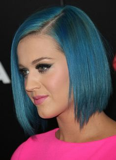 Smooth colored bob haircut - Katy Perry hairstyles