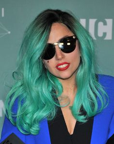 Long wavy green hair - Lady Gaga hairstyles