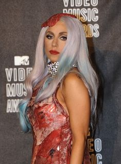 Long Wavy Aqua Hair - Lady Gaga Hairstyles