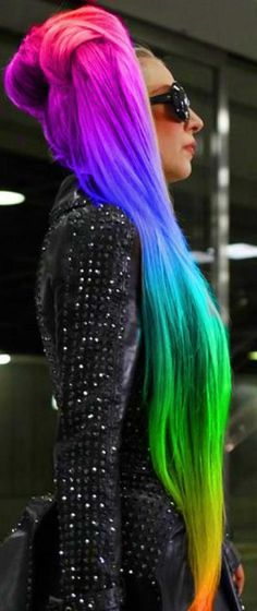 Rainbow Ponytail - Lady Gaga Hairstyles