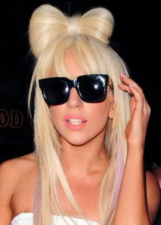 Long straight bow hair - Lady Gaga hairstyles