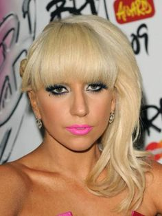 Side bun with blunt bangs - Lady Gaga hairstyles