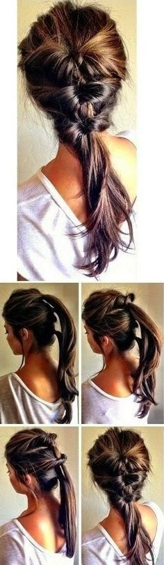 Simple twisted ponytail hairstyle tutorial