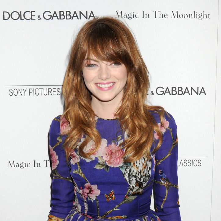 Emma Stone's shiny waves with wispy bangs