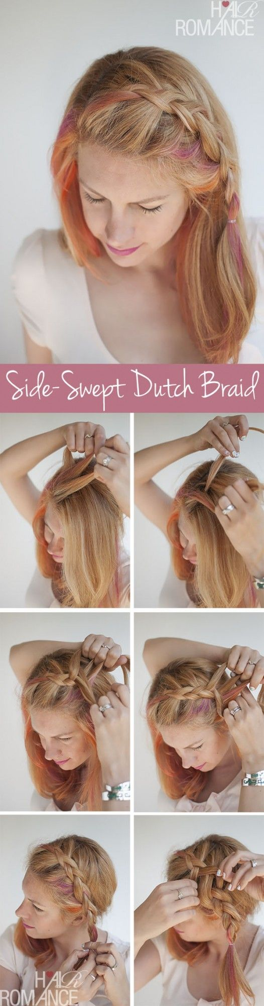 Dutch braid swept to the side